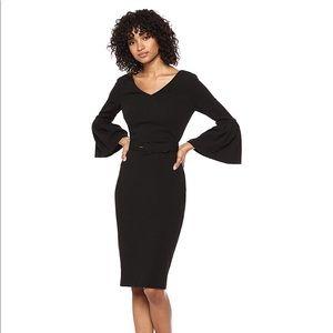 Calvin Klein V-Neck Bell Sleeve Sheath Dress